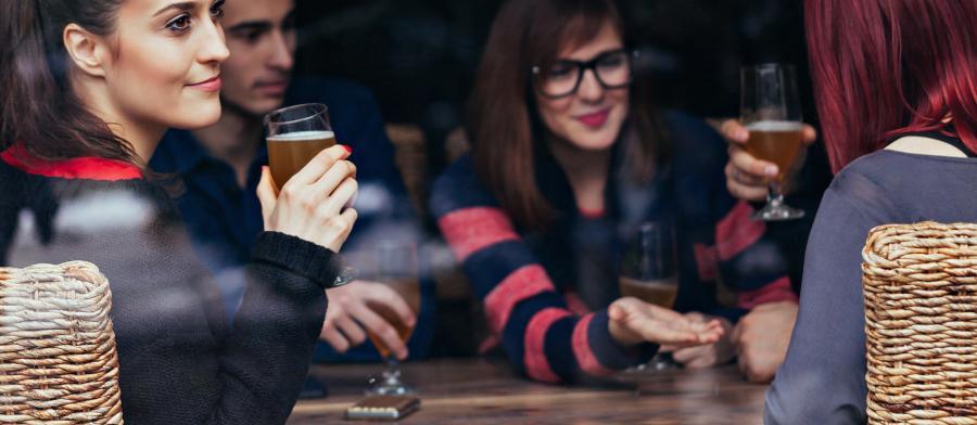 friends around a bar