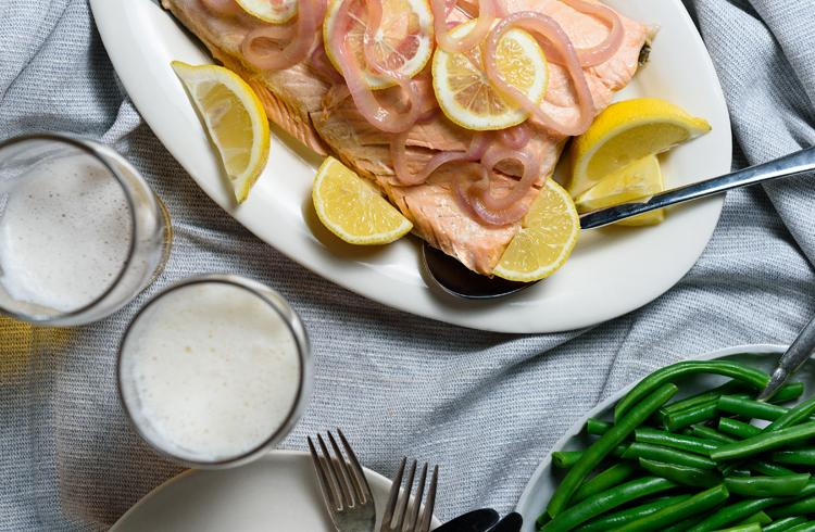 Salmon Poached in Beer