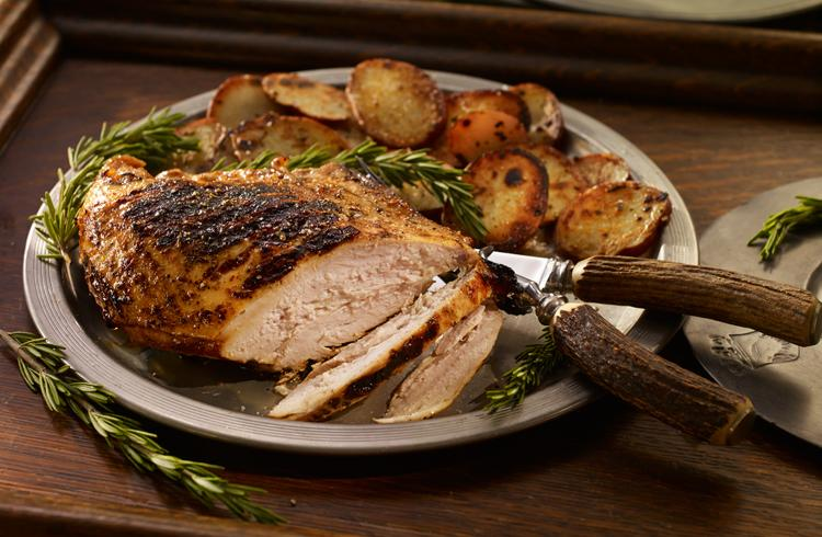 Grilled Turkey with Roast Potatoes