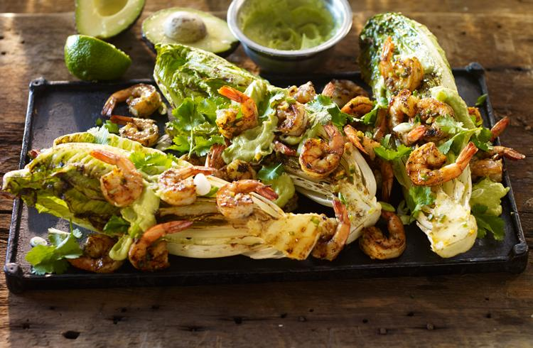 Marinated Shrimp over Grilled Romaine