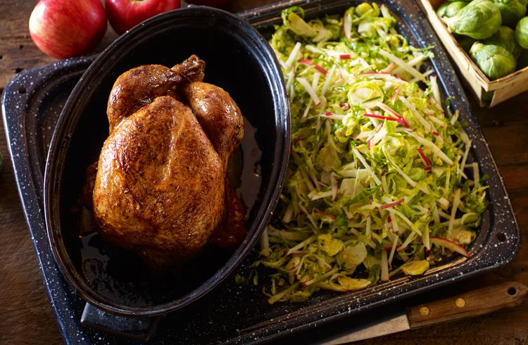 Roasted Chicken with Apple and Brussel Sprouts Slaw