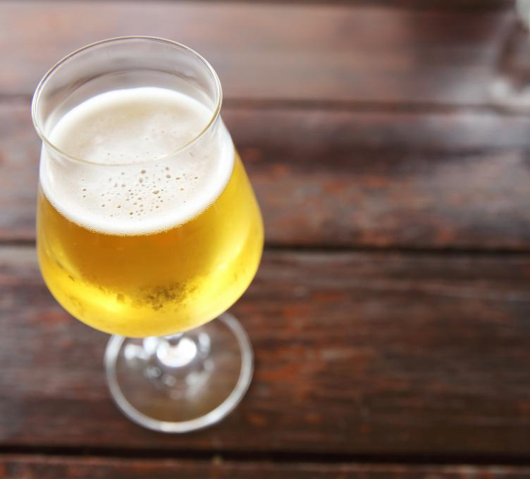 beer in glass on table