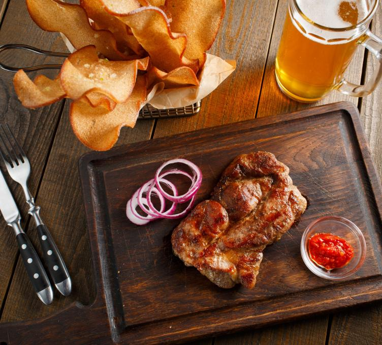 beer and chicken meal