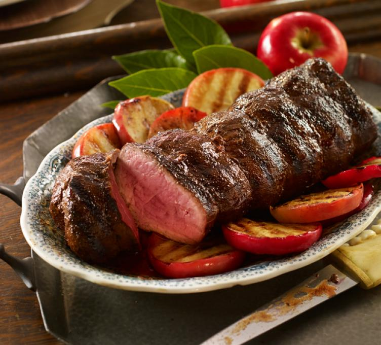 Beef Tenderloin with Grilled Apples