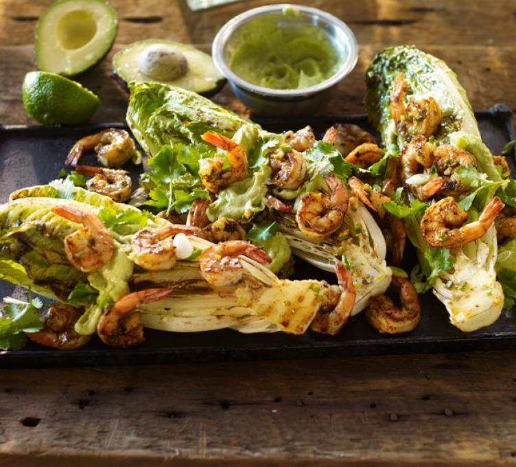 Marinated Shrimp over Grilled Romaine