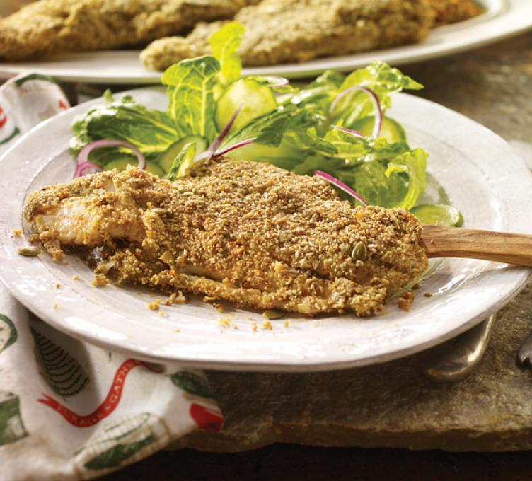 Pumpkin Seed Crusted Haddock